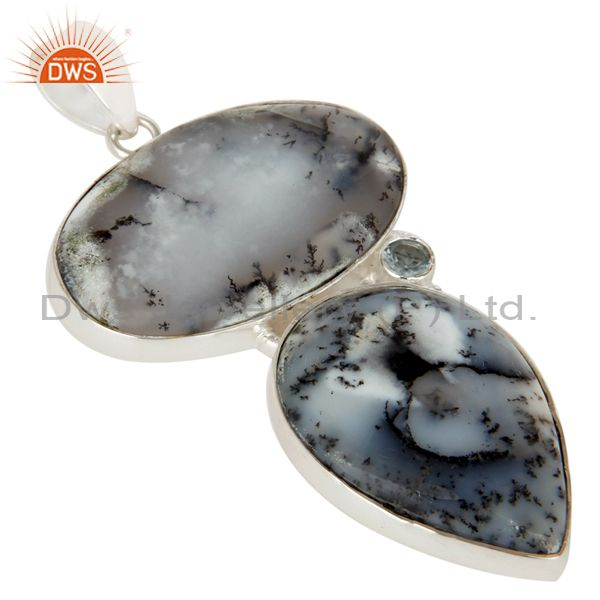 Exporter Handmade Solid Sterling Silver Dendritic Opal And Blue Topaz Bezel Set Pendant