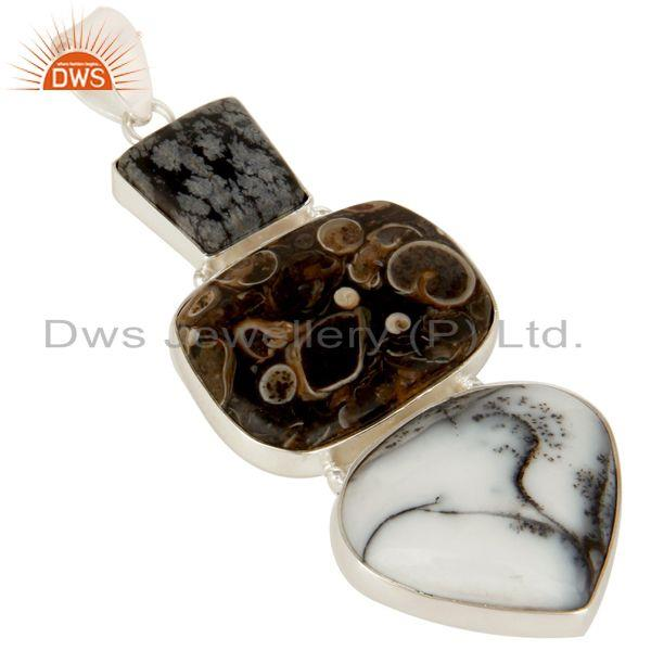 Exporter Handmade Solid Sterling Silver Dendritic Opal And Turritella Agate Pendant