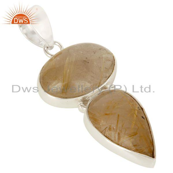 Exporter Handmade Solid Sterling Silver Rutilated Quartz Gemstone Bezel Set Pendant