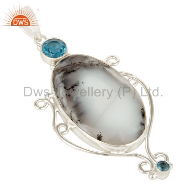 Exporter Handmade Sterling Silver Dendritic Opal And Blue Topaz Bezel Set Pendant