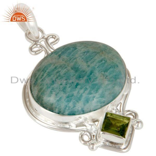Exporter Natural Amazonite And Peridot Solid Sterling Silver Gemstone Designer Pendant