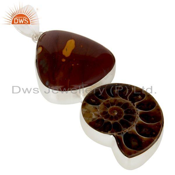 Exporter Handmade Solid Sterling Silver Mookaite And Ammonite Bezel Set Pendant