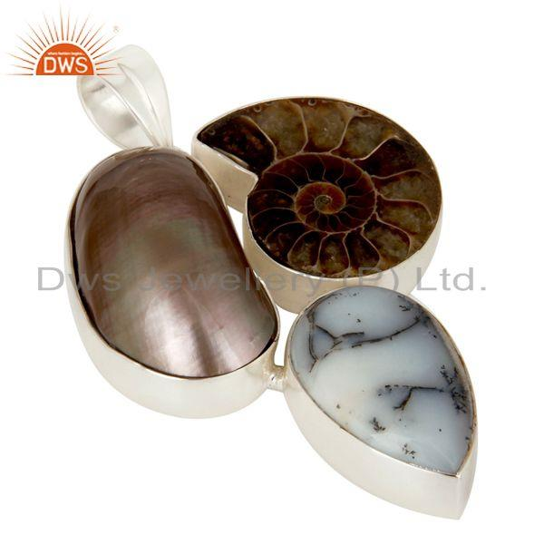 Exporter Natural Mabe Pearl, Dendritic Opal And Ammonite Solid Sterling Silver Pendant