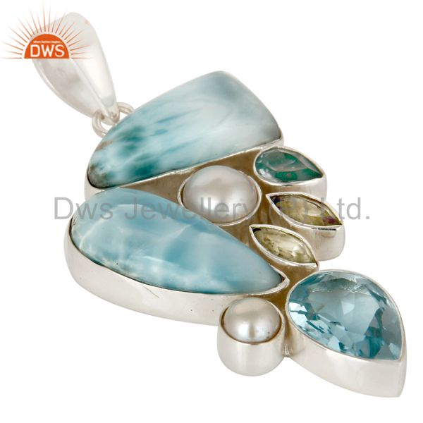 Exporter Larimar Pearl Blue Topaz and Green Amethyst 925 Silver Combination Pendant