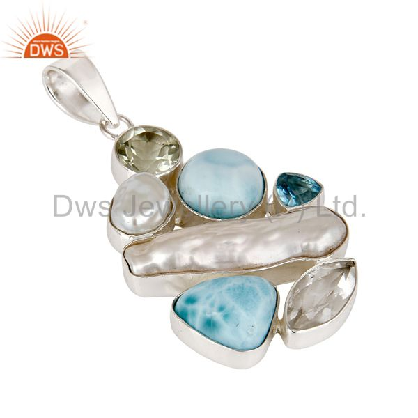 Exporter Larimar With Multi Color Stone 925 Sterling Silver Pendant