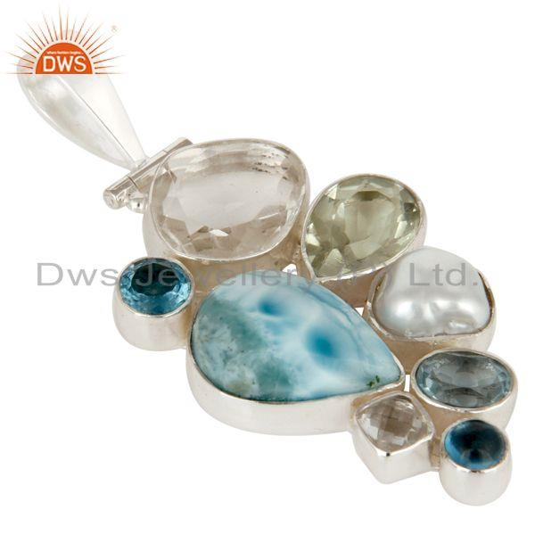 Exporter Larimar, BT, Crystal, Amethyst and Fresj Water Pearl 925 Silver Pendant