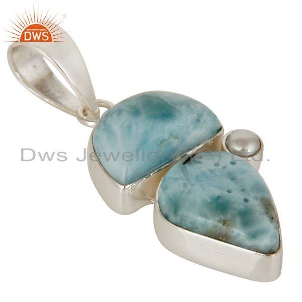 Exporter Larimar and Pearl Sterling Silver Handmade Pendant