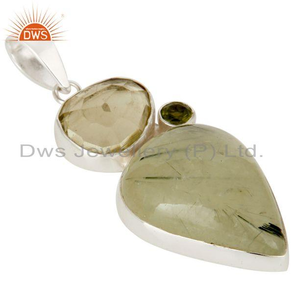 Exporter Prehnite, Lemon Topaz and Peridot Sterling Silver Gemstone Pendant