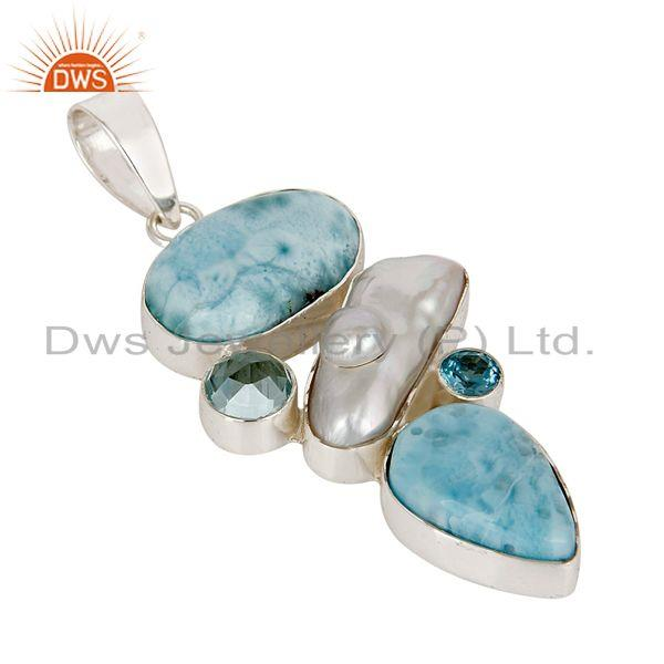 Exporter Larimar, Pearl & Blue Topaz 925 Sterling Silver Pendant