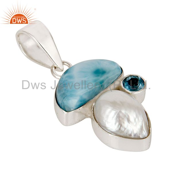 Exporter Larimar, Blue Topaz & Pearl 925 Sterling Silver Pendant