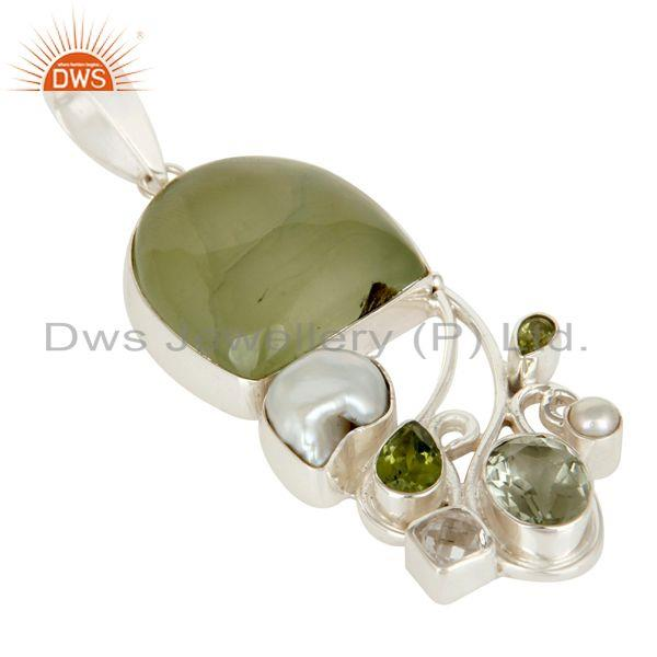 Exporter Prehnite, Peridot, Pearl and Green Amethyst Sterling Silver Pendant