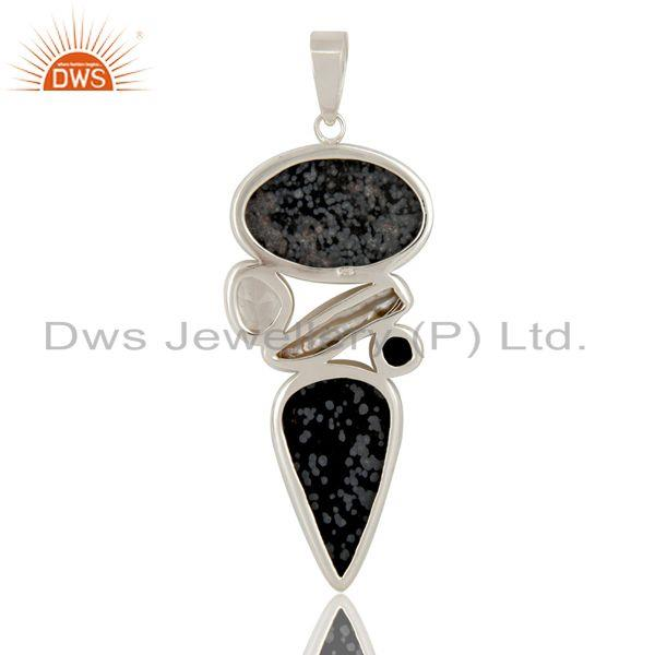Exporter Snowflake Obsidian, Crystal and Fresh Water Pearl Sterling Silver  Pendant