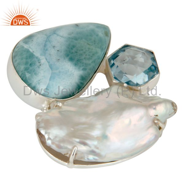 Exporter Larimar, Fresh Water Pearl and Blue Topaz Sterling Silver Enhancer Pendant