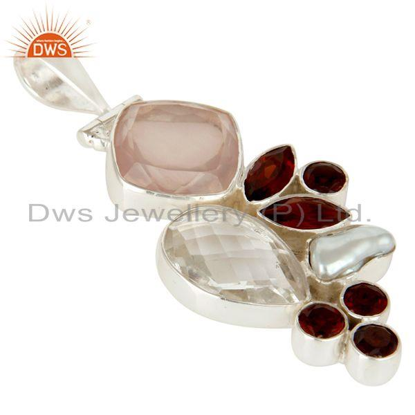 Exporter Rose Quartz, Garnet, Crystal and Fresh Water Pearl Sterling Silver Pendant