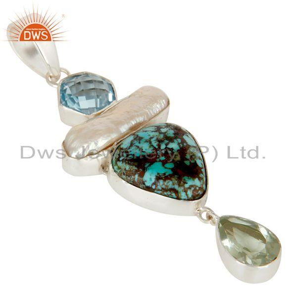 Exporter Boulder Turquoise, Prasiolite, BT and Pearl Handmade Sollid 925 Silver Pendant