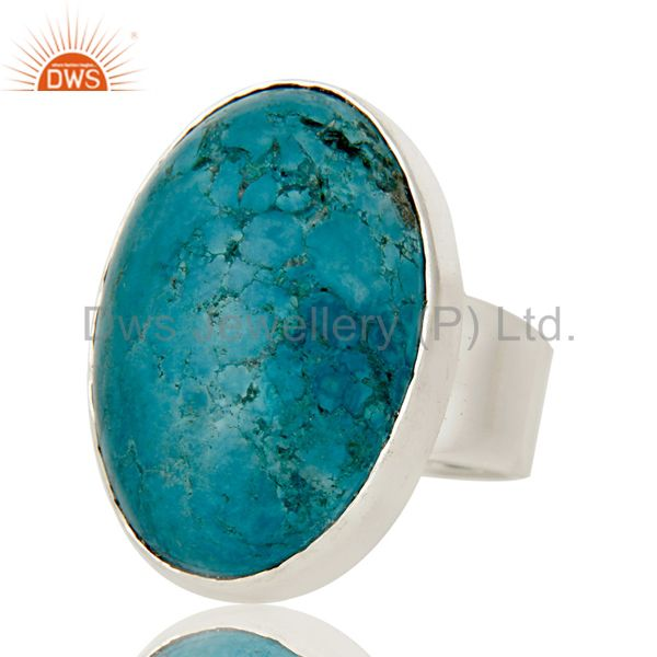 Exporter Natural Turquoise Gemstone Bezel Set Statement Ring Made In 925 Sterling Silver