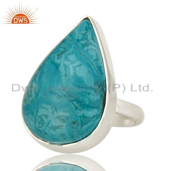 Exporter Natural Turquoise Gemstone Bezel Set Handmade Sterling Silver Ring