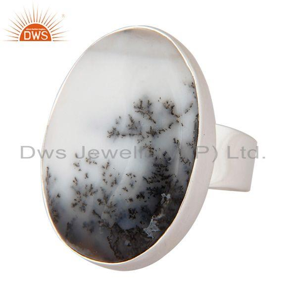 Exporter Artisan Handcrafted Dendritic Opal Cabochon Gemstone 925 Sterling Silver Ring