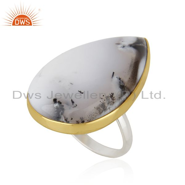 Exporter 18K Gold Plated & Solid 925 Sterling Silver Handmade Dendritic Opal Unique Ring