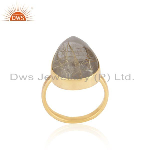 Exporter Golden Rutile Gemstone 925 Silver Gold Plated 925 Silver Ring For Mens
