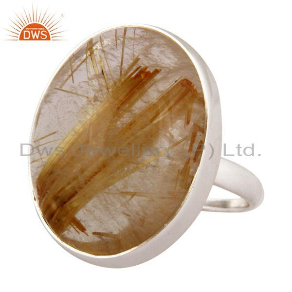 Exporter 925 Sterling Silver Natural Rutilated Quartz Gemstone Handmade Ring
