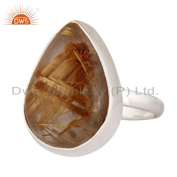 Exporter Genuine Golden Rutilated Quartz Gemstone 925 Sterling Silver Ring