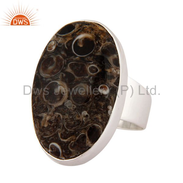 Exporter Natural Turritella Agate Gemstone Handmade Ring Made in 925 Sterling Silver