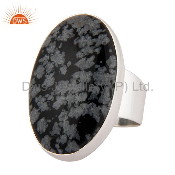 Exporter Natural Snowflake Obsidian Semi Precious Gemstone Ring Made In Sterling Silver
