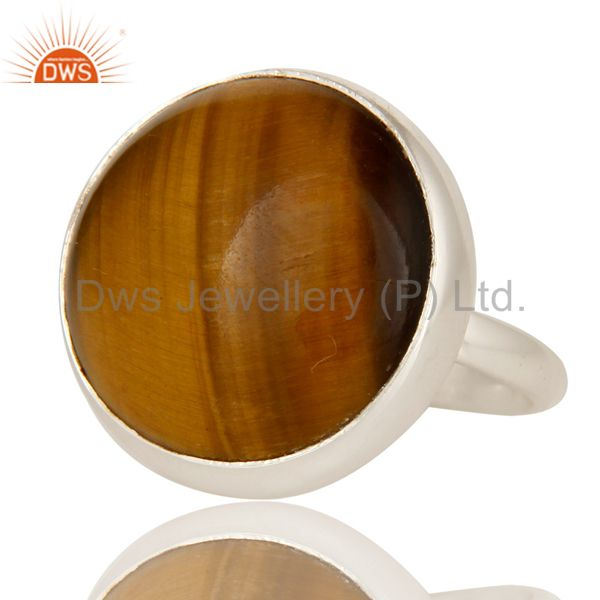 Exporter Handmade 925 Sterling Silver Natural Tiger Eye Gemstone Cocktail Ring