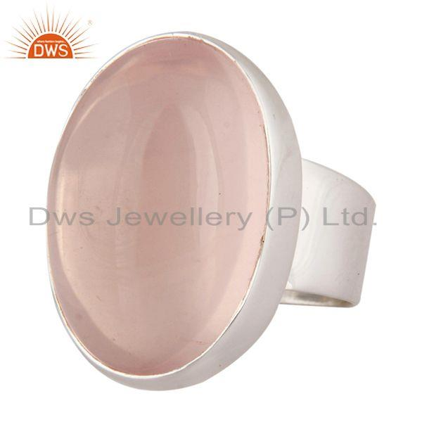 Exporter Handmade 925 Sterling Silver Bezel Set Rose Quartz Gemstone Ring