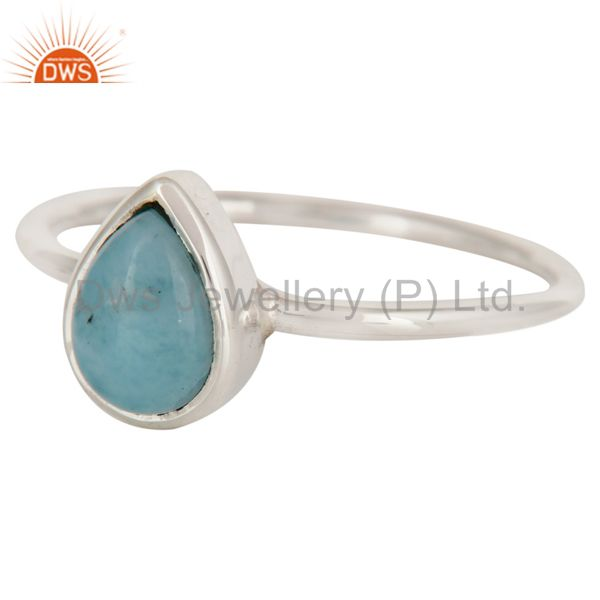 Exporter Handmade 925 Sterling Silver Natural Larimar Gemstone Stacking Ring