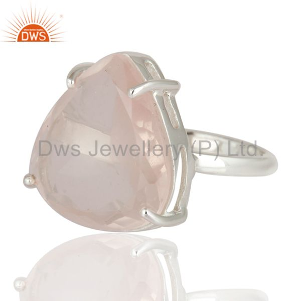 Exporter 925 Sterling Silver Genuine Faceted Rose Quartz Prong Set Gemstone Ring
