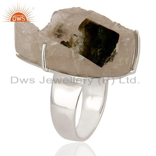 Exporter Handmade Sterling Silver Tourmaline Druzy Prong Set Cocktail Ring
