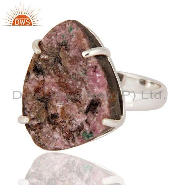 Exporter Genuine 925 Sterling Silver Natural Cobalto Calcite Druzy Prong Set Ring Jewelry