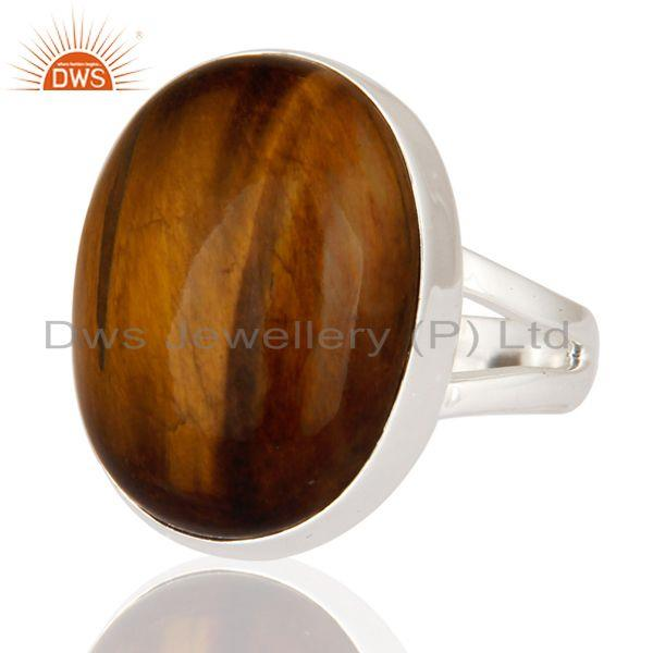 Exporter Handmade Tiger Eye Gemstone Solid 925 Sterling Silver Ring Size 7 US