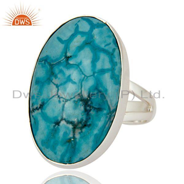 Exporter Natural Turquoise Gemstone Bezel-Set Ring Made In 925 Sterling Silver
