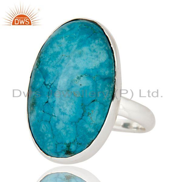 Exporter Handmade 925 Sterling Silver Genuine Turquoise Cabochon Gemstone Ring Size 8 US