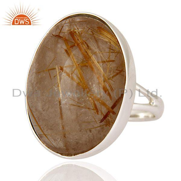 Exporter High Quality Gemstone Rutilated Quartz 925 Sterling Silver Artisan Crafted Ring