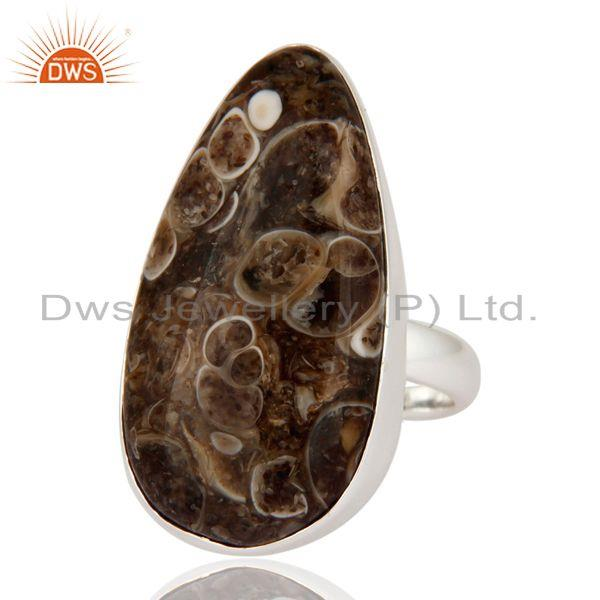 Exporter Natural Turritella Agate Top Quality 925 Sterling Silver Unique Ring