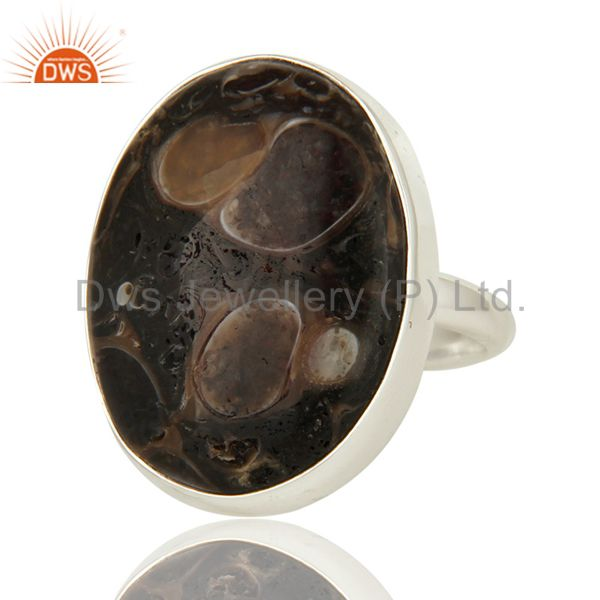 Exporter Handmade Genuine Sterling Silver Natural Turritella Agate Statement Ring