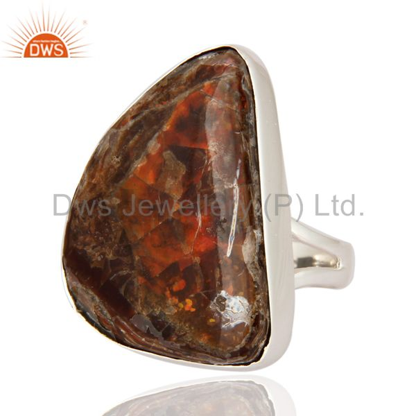 Exporter Natural Ammolite Gemstone Ring Handmade 925 Sterling Silver Jewelry Size 9