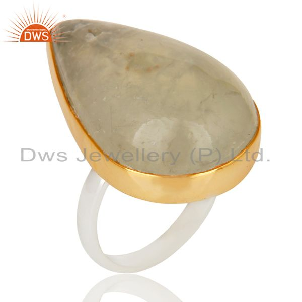 Exporter 18K Gold Plated Solid 925 Sterling Silver Pear Shape Prehnite Gemstone Ring