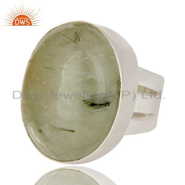 Exporter 925 Sterling Silver Prehnite Gemstone Statement Ring