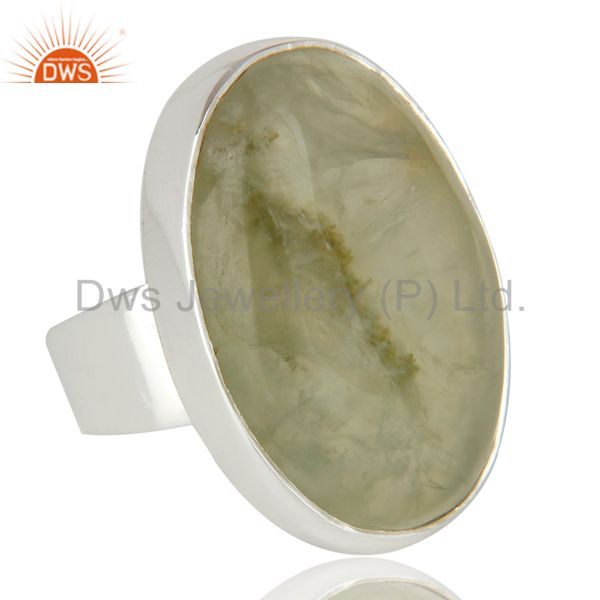 Exporter Handmade Sterling Silver Natural Prehnite Gemstone Bezel Set Statement Ring