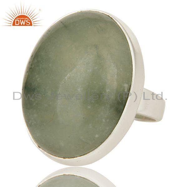 Exporter Natural Prehnite Bezel Set Oval Gemstone Statement Ring In Sterling Silver