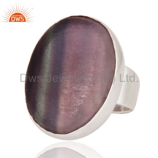 Exporter Indian Solid 925 Sterling Silver Rainbow Fluorite Gemstone Bezel-Set Ring