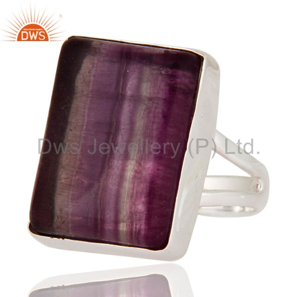 Exporter Natural Rainbow Fluorite Gemstone Nickel Free 925 Sterling Silver Handmade Ring