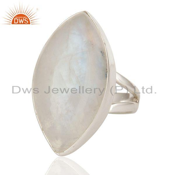 Exporter Natural Rainbow Moonstone Bezel Set Ring Made In Sterling Silver