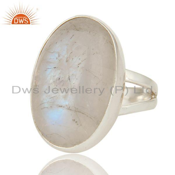Exporter Natural Rainbow Moonstone Statement Ring Made in Sterling Silver