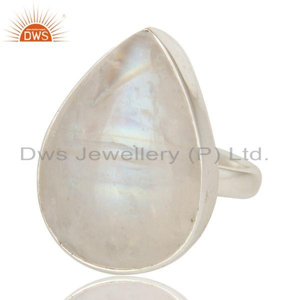 Exporter Natural Rainbow Moonstone Bezel Set Statement Ring Made In Solid Sterling Silver